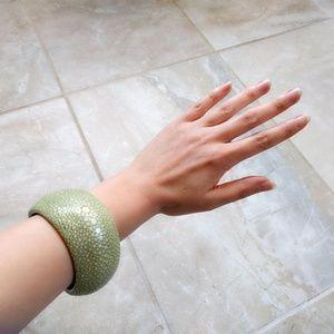 Tory Burch Celadon Green Stingray Bangle Bracelet